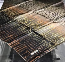 Armine Bufanda de seda color bronce-negro