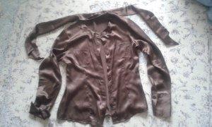 Strauss Zijden blouse donkerbruin Zijde