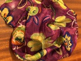 Sciarpa di seta rosso lampone-giallo