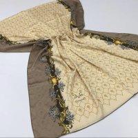 Sciarpa di seta crema-marrone chiaro