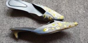 Heel Pantolettes grey-lime yellow