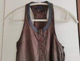 Free Soul Top de seda marrón-marrón grisáceo Seda