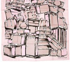Louis Vuitton Bufanda de seda gris claro-rosa Seda