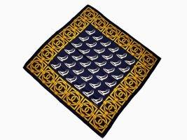 Chanel Silk Cloth dark blue-gold orange silk
