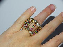 Selbstgemachter Ring Sicherheitsnadeln Bunte Perlen Dehnbar Gummizug