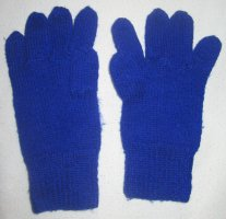 Knitted Gloves blue wool