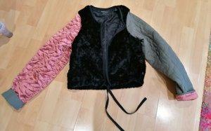 Handmade Bomber Jacket black-dusky pink