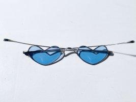 Unbekannte Marke Retro Glasses silver-colored-steel blue metal
