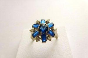 Seltener edler antiker Ring Weiß Gold 750 Blau Saphire mit Brillanten
