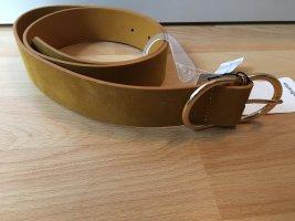 Stradivarius Pasek z imitacji skóry złotopomarańczowy