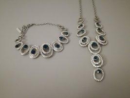 Statement Necklace silver-colored-dark blue