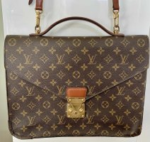 Louis Vuitton Porte-documents brun foncé lin