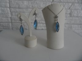 Collana blu fiordaliso-bianco Vetro