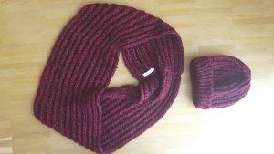Camaieu Chapeau en tricot rouge carmin-bordeau laine