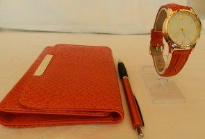 Zegarek analogowy pomarańczowy Tkanina z mieszanych włókien
