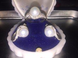 Pareloorbellen zilver-wit