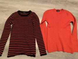 Set Długi sweter bez rękawów czerwony-ciemnoniebieski