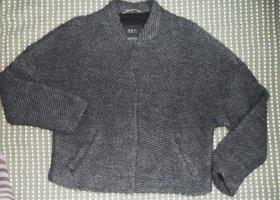 Set Veste tricotée en grosses mailles gris foncé