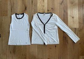 Paul & Shark Dzianinowy podwójny zestaw  w kolorze białej wełny-czarny Wełna