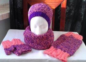 Sombrero de punto lila-rosa