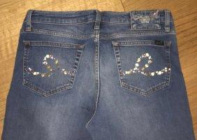 *seven for all mankind* super Damen Jeans mit Glitzerapplikationen *W34* *blau*
