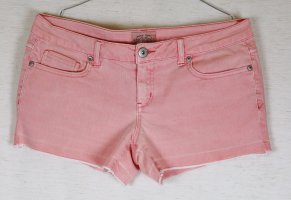 Sexy Hotpants Jeans Hose aeropostale USA Größe 7/8 38 Kurze Hose Shorts Koralle Rosa Denim Fransen