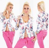 Sexy Italy Blazer - NEU - Blue/Pink - Größe S 36 - Tailliert - Flower