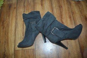 Graceland Peep Toe Booties dark grey