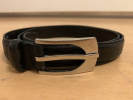 SF Cinturón de cuero negro-color plata