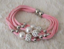 Pulsera color plata-rosa