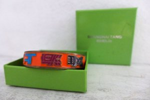 Shanghai Tang Emaille Armband Armreif massiv Asia China orange OVP