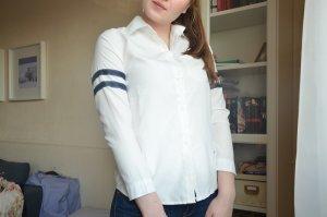 Shein Sheinside Bluse 36 S sweatshirt streifen weiß dukelblau marine