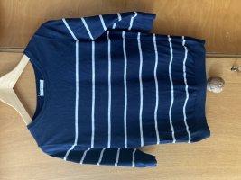 Armedangels Sweater met korte mouwen wit-donkerblauw Katoen