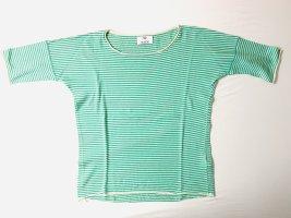 Allude Gestreept shirt turkoois-wit Kasjmier