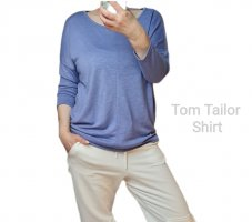 Shirt Blau Tom Tailor Basic Shirt kurz legere Viskose Gr. 36 - Neu