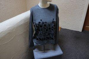 Geribd shirt grijs-zwart Gemengd weefsel