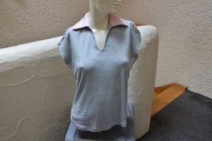 #Shirt m. Polokragen, Gr. 42, #grau-meliert, #MM, #weich, #hochwertig