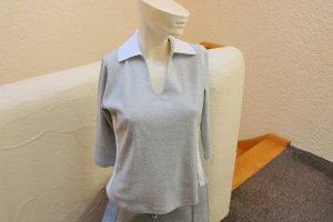 Polo shirt lichtgrijs-wit Katoen