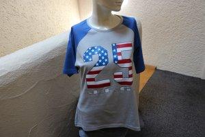 #Shirt m. Print, Gr. 44, #grau-blau, #John F. Gee, #NEU