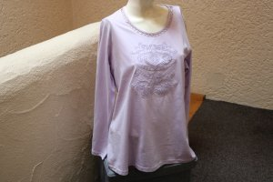 #Shirt m. Stickerei u. Lochmuster, #flieder, Gr. 46, #Cheer