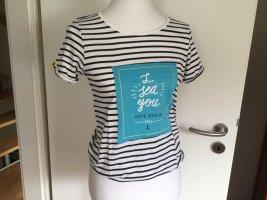 T-shirt rayé blanc-bleu foncé