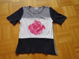 Shirt, Oberteil, Gr.38/S#, weiß-dunkelblau, Kurzarm