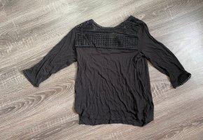 Shirt Pullover schwarz spitze Ausschnitt schwarz Oberteil
