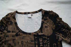 Shirt/Top in braun/schwarz mit gerafften Ärmeln