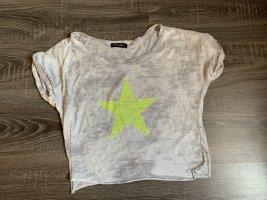 Shirt top Stern neon gelb grau meliert