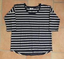 AJC T-shirt rayé blanc-bleu foncé