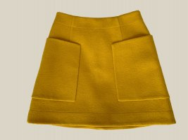COS Wool Skirt dark yellow-sand brown wool