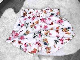 Shorts hose kurz sommer high waisted muster blumen floral pink weiß