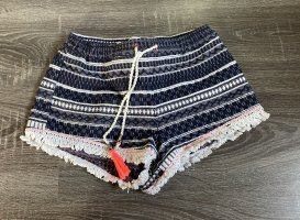 Shorts Hotpants kurze Hose blau weiß Fransen Muster mango