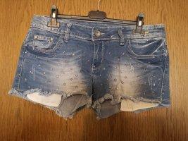 Short en jean argenté-bleuet